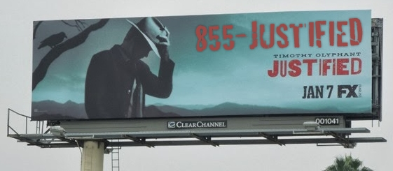 Justified show billboard using 1-855-JUSTIFIED