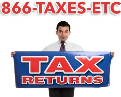 Man holding Tax Returns sign using 1-866-TAXES-ETC