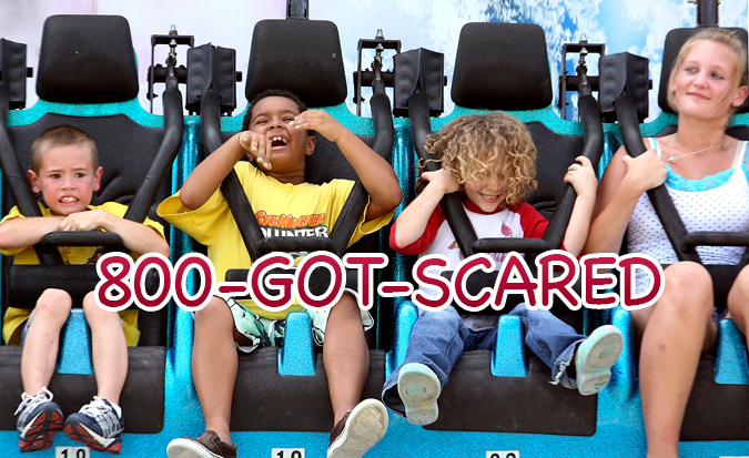 Young kids on roller coaster using 1-800-GOT-SCARED
