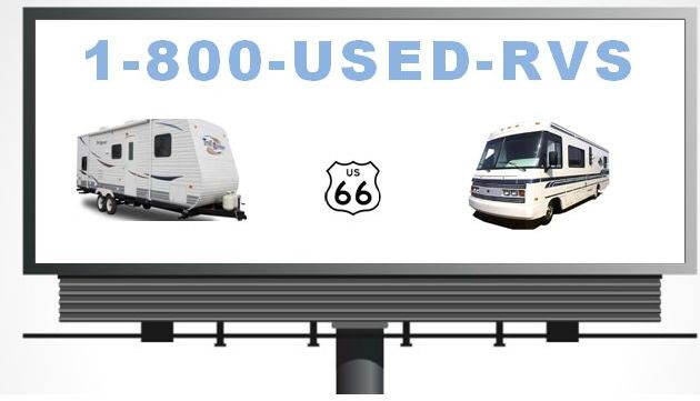 Billboard with campers using 1-800-USED-RVS