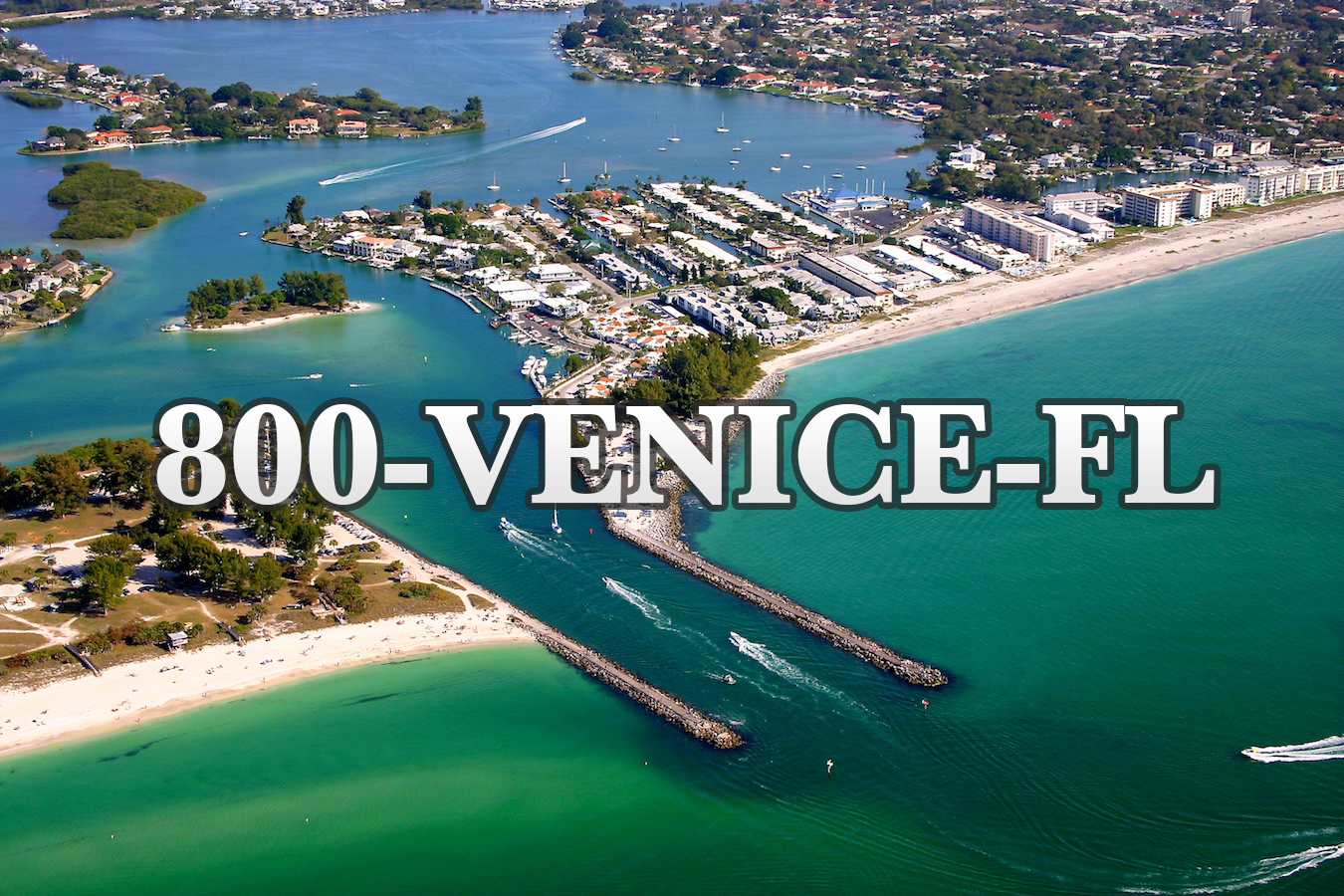 Venice Florida Jetty aerial view using 1-800-VENICE-FL