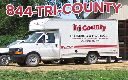 Tri-County Plumbing and Heating truck using 1-844-TRI-COUNTY