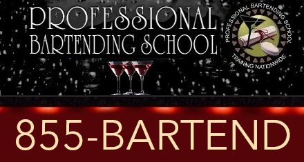 Professional Bartending School sign using 1-855-BARTEND