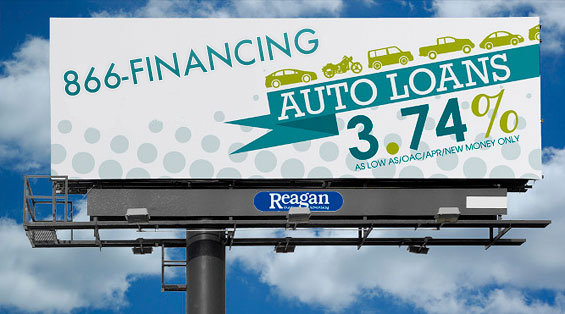 Auto Loans Billboard using 1-866-FINANCING
