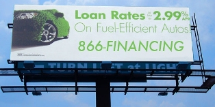Car loan billboard using 866-FINANCING