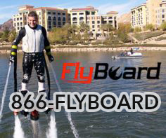 Man on the water using a Flyboard and 1-866-FLYBOARD