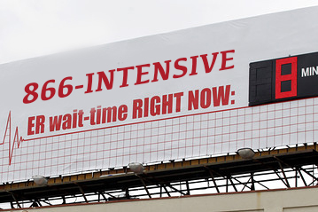 ER Wait Time billboard using 1-866-INTENSIVE