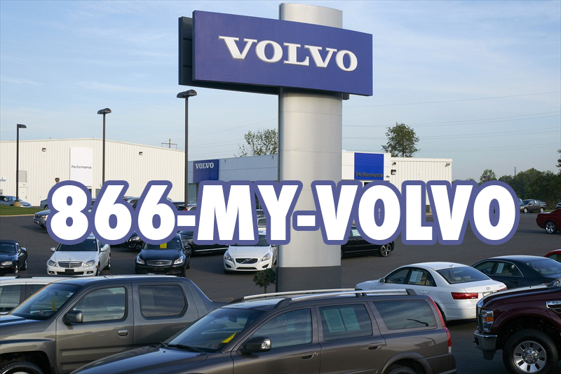 Volvo car lot with Volvo sign using 1-866-MY-VOLVO