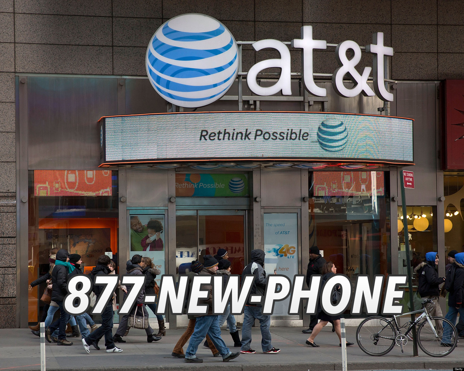 AT&T Building front using 1-877-NEW-PHONE