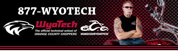 Wyotech school website banner using 1-877-WYOTECH