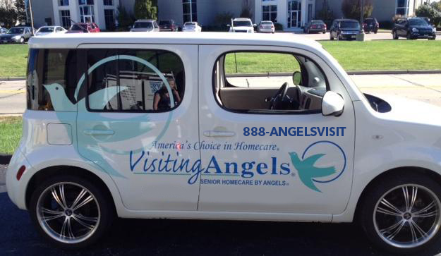 Visiting Angels car using 1-888-ANGELS-VISIT