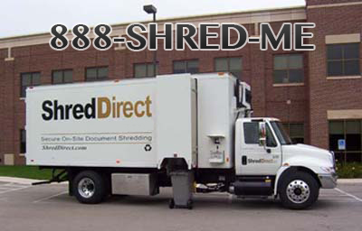 Shred Direct van using 1-888-SHRED-ME