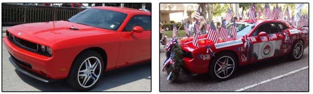 Plain Dodge Challenger converted to a decorated flag parade car